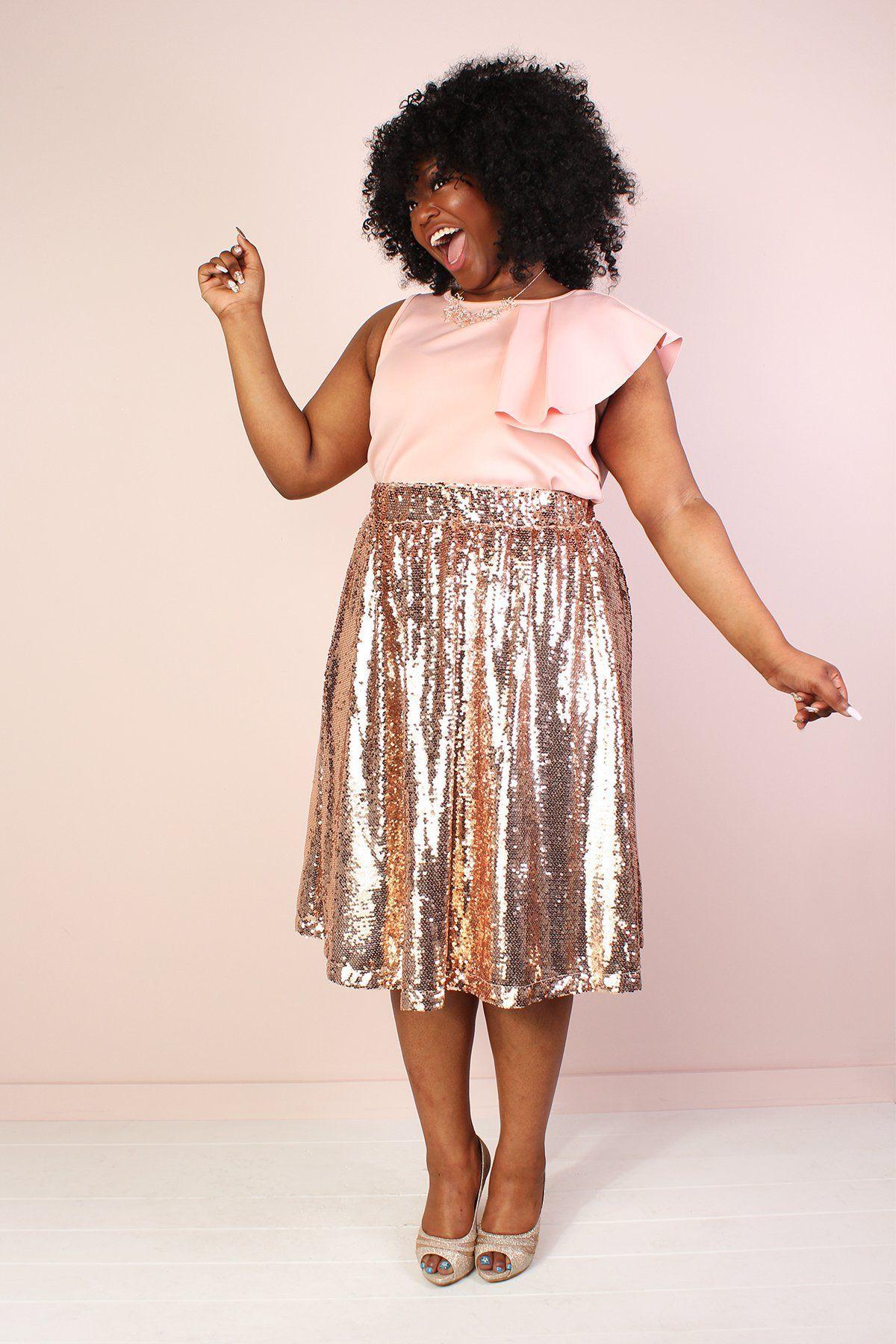 59b2addf3ac Plus Size Sequin Skirt - Rose Gold
