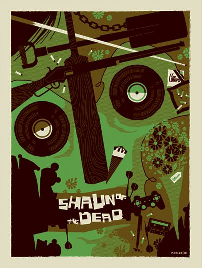Tom Whalen does Shaun of the Dead  I would do disgusting things to own a poster of this!
