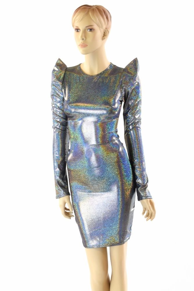 79a6d3edaa2 Silver Holographic Sharp Shoulder Long Sleeve Dress Futuristic Mod Party  Dress  CoquetryClothing  WigglePencil  Cocktail