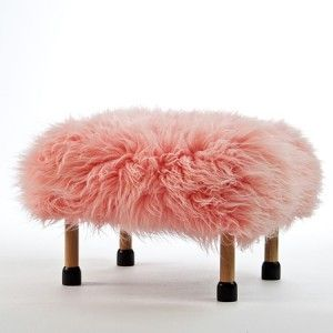 Nia in Baby Pink. A luxury sheepskin footstool handmade in beautiful North Wales, with a removable fabulous Baby Pink coloured real British sheepskin cover.