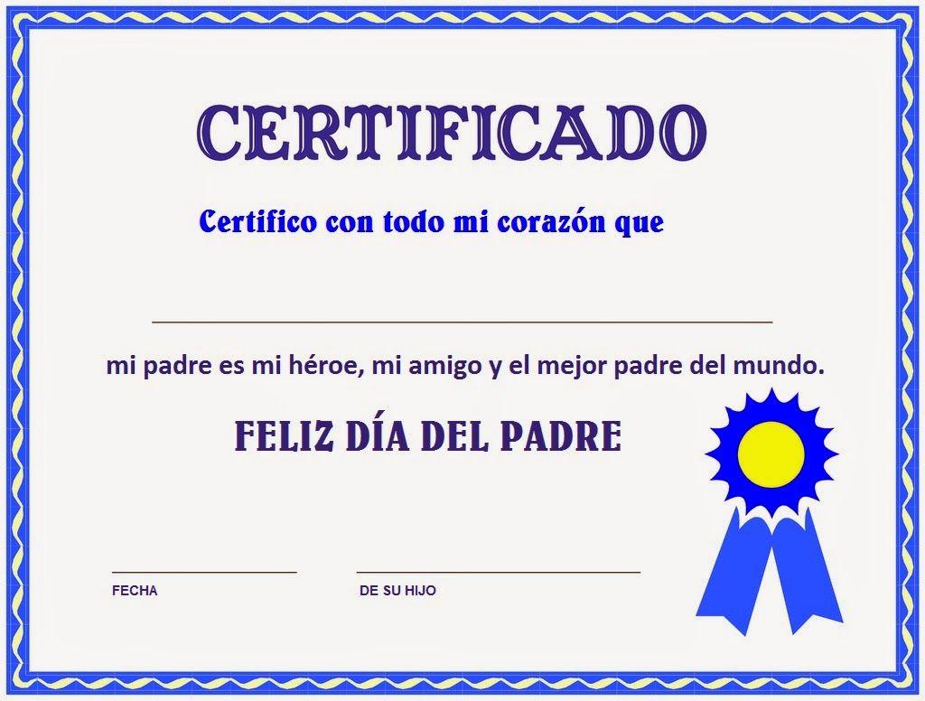 certificado para ti   papa,,,,   Pinterest   Día de los padres ...