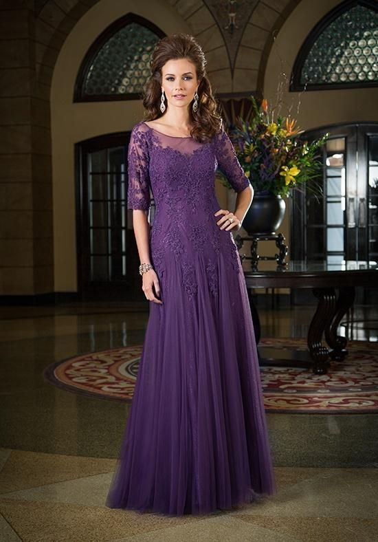 Mother Bride Dresses 2017 Clic Half Sleeves Dark Purple Dress Of The Groom Tulle Lique Lace Sheer Neck Long Wedding Evening Party Gown
