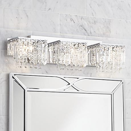 Possini Euro Crystal Strand 25 3 4 Wide Chrome Bath Light