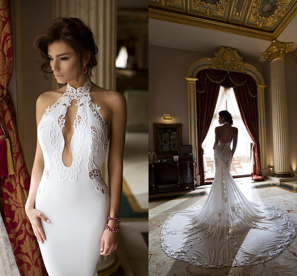 Mermaid Type Wedding Dresses 2015 Mermaid Wedding Dresses Halter Neck Appliqued Chiffon Dimitrius Dalia Sexy Bridal Gowns With Open Back And Cathedral Train Mermaid Dress Wedding From Nicedressonline, $221.63| Dhgate.Com