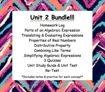 Cc 6th Grade Math Unit Bundle Algebraic Expressions Properties