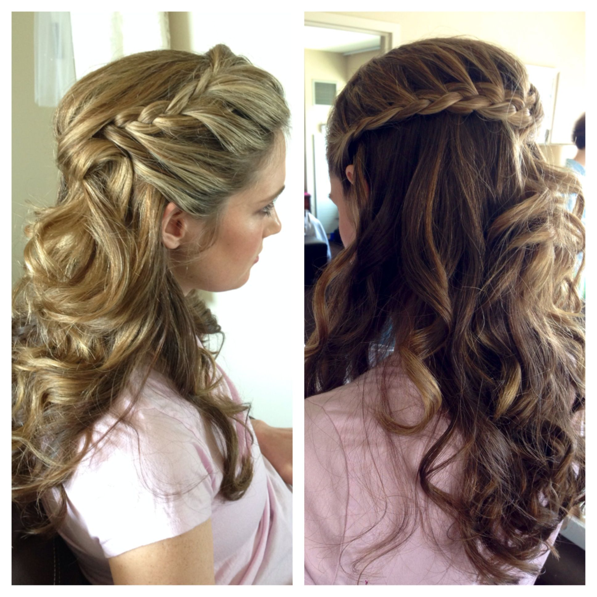 braids, bridesmaids, wedding hair, half up half down hair