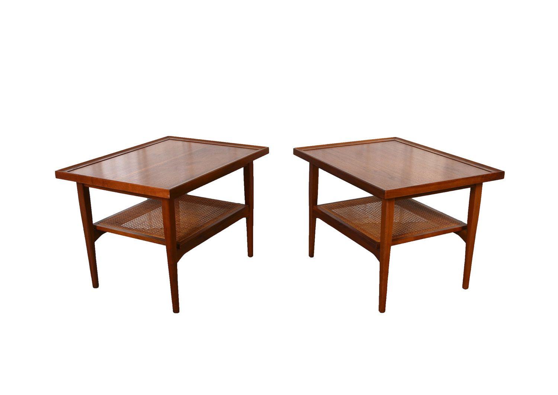 Walnut Side Tables Drexel Declaration Mid Century Modern By