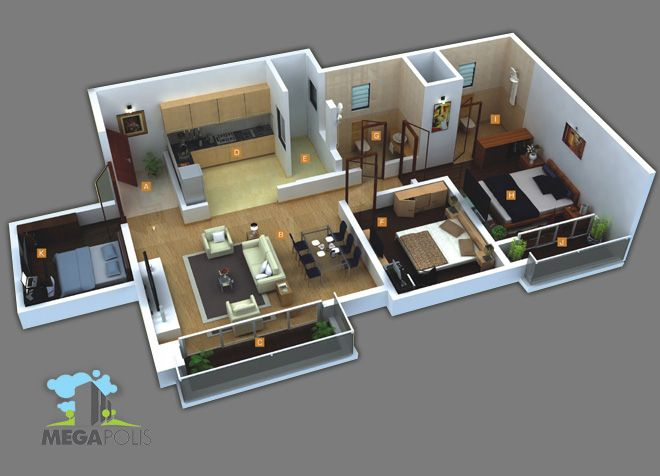 3 Bhk Home Design Layout Part - 21: Located Along The Outskirts Of Pune, At Hinjewadi, The 150-acre Megapolis  Site. Tiny House PlansBedroom ...
