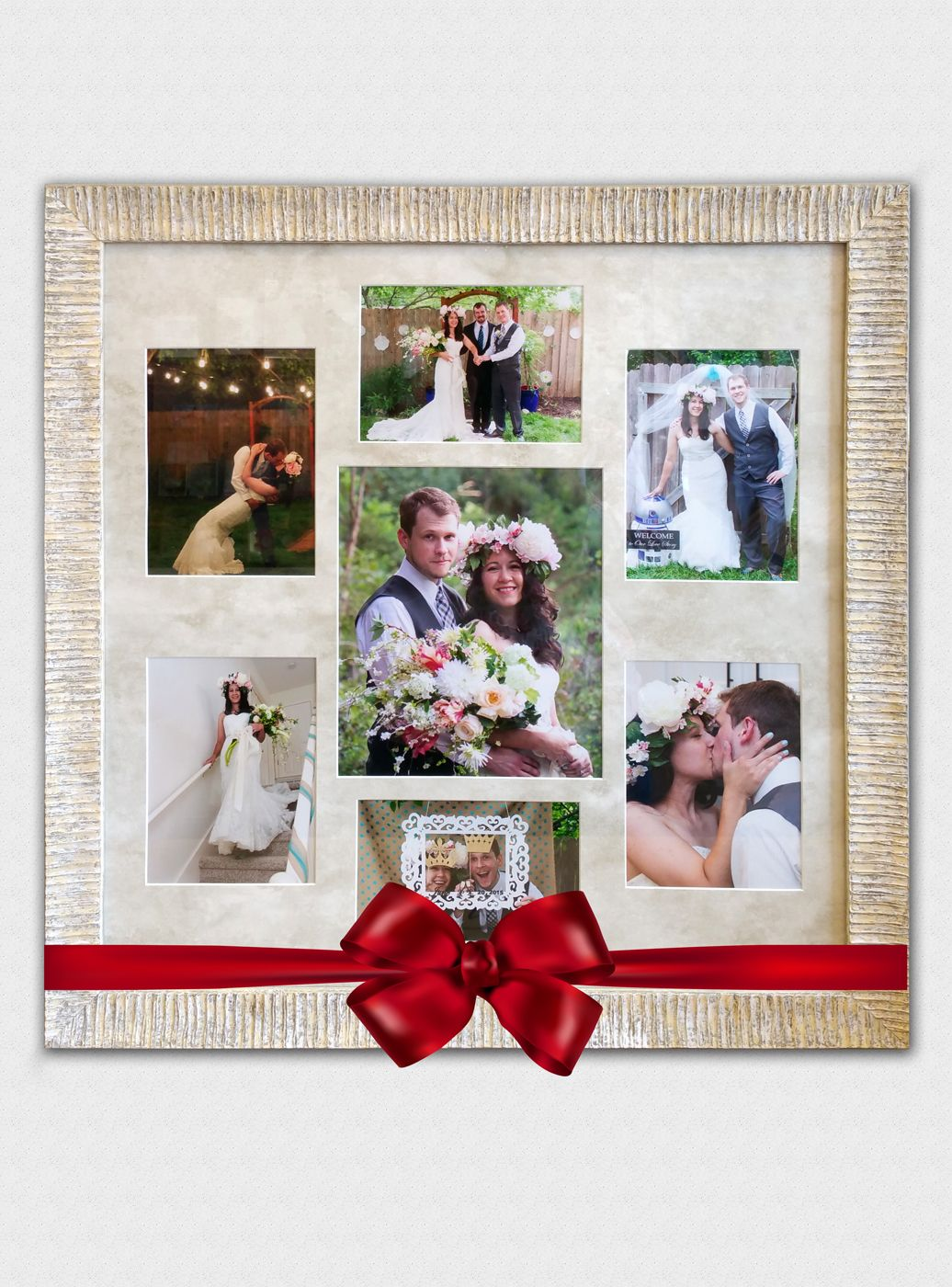This Newlywed Couple Is Surrounded By An Elegant Soft Water Gold Mat And A Fresh New Patina Frame From Our Coll Wedding Collage Wedding Frames Wedding Memorial
