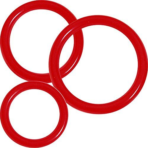 OptiSex Premium Silicone Erection Control Cock Ring Set for Men (3 rings of different sizes), RED
