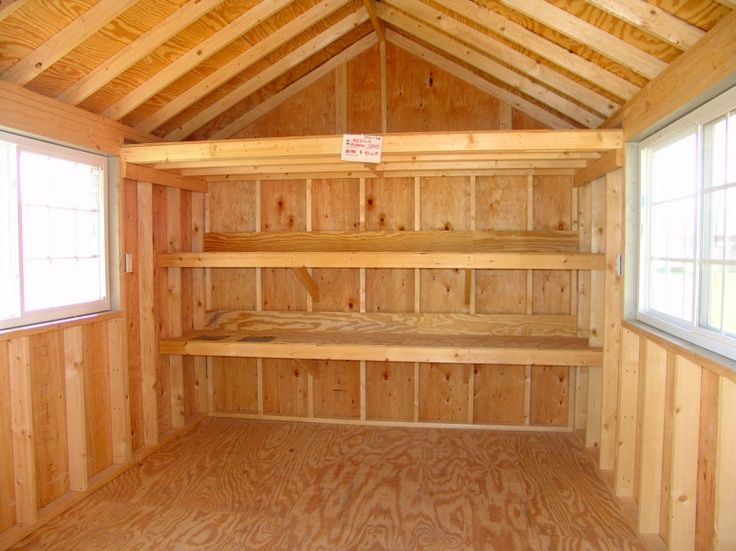 Shelving within a shed … | Sleeping Cabin | Shed storage ...