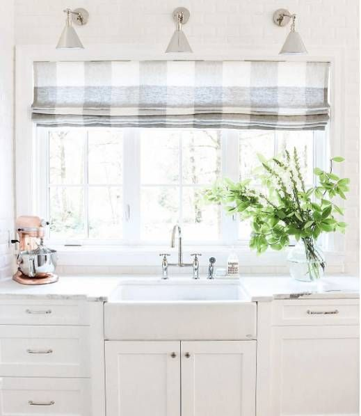 Incorporating The Gingham Pattern Into Your Home Domino White Kitchen Curtains Kitchen Window Treatments Home