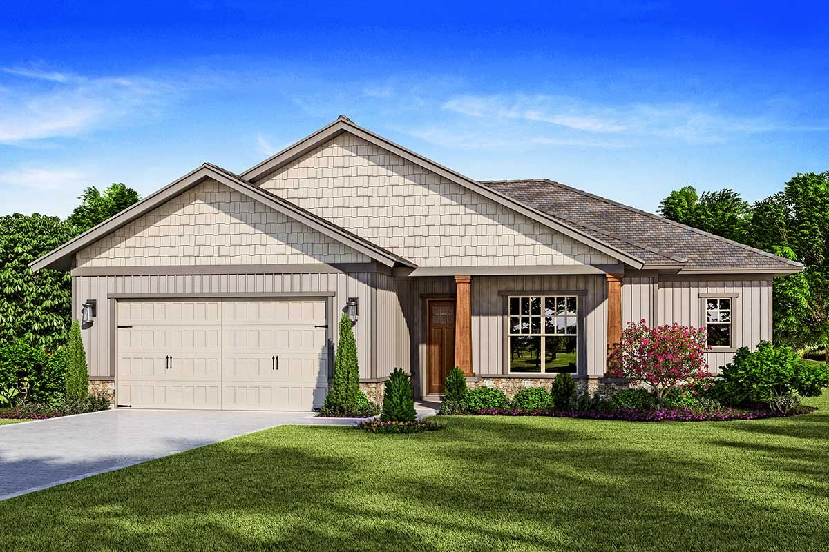Plan 33225zr Lovely Split Bed Single Story Home Plan In 2020 Single Story Homes Open Concept Great Room House Plans