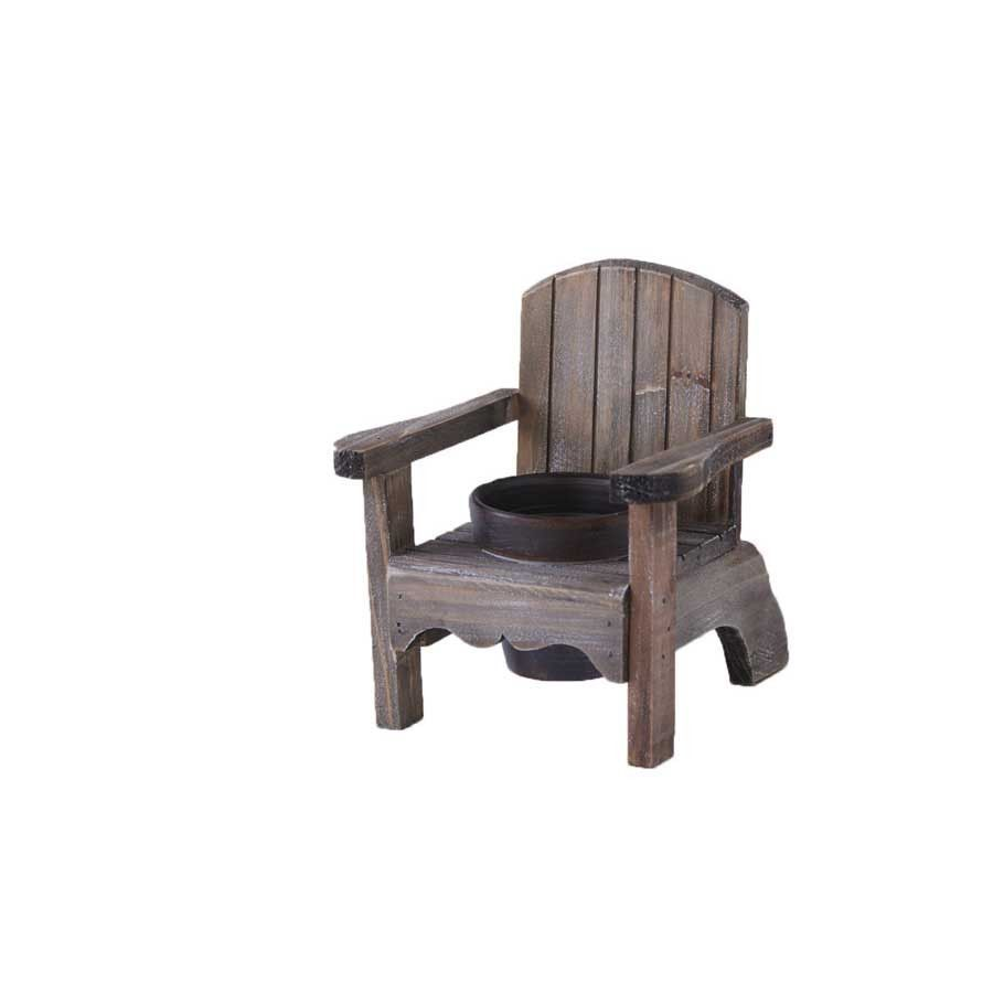 7.5 Inch Weathered Wood Chair Single Pot Holder | Chair
