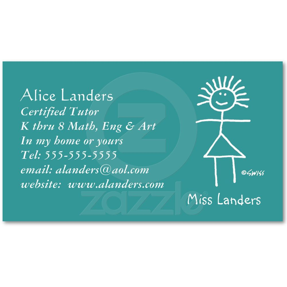 Elementary Tutor Teacher Business Card Custom from Zazzle.com ...