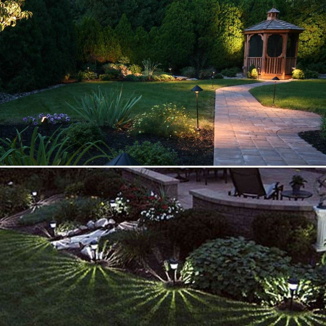 low voltage landscape lighting top or solar lighting bottom