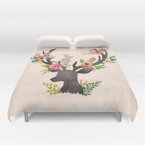 Oh Deer Floral Duvet Cover