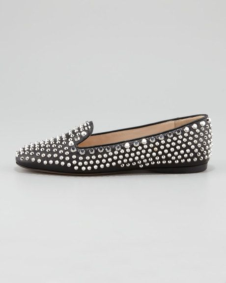 8974e026eb4b Prada - Metallic Studded Smoking Slipper - Lyst