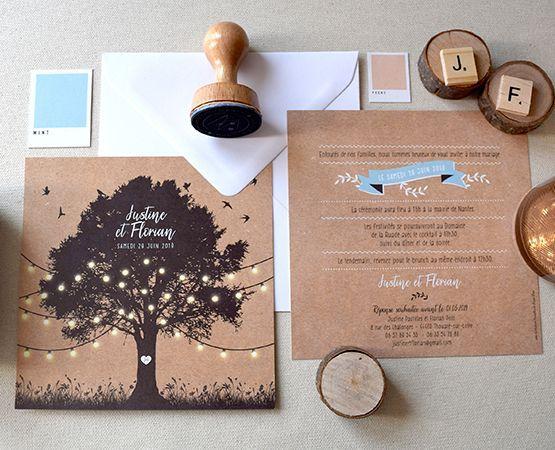 Annoncer l'arbre de mariage Chic Kraft Tree et guirlande de lumières ou Fanio …