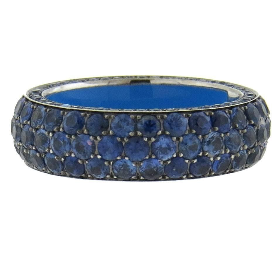 Marco Valente Blue Sapphire Gold Band Ring