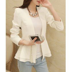 Stylish Collarless Long Sleeve Solid Color Ruffled Blazer For Women