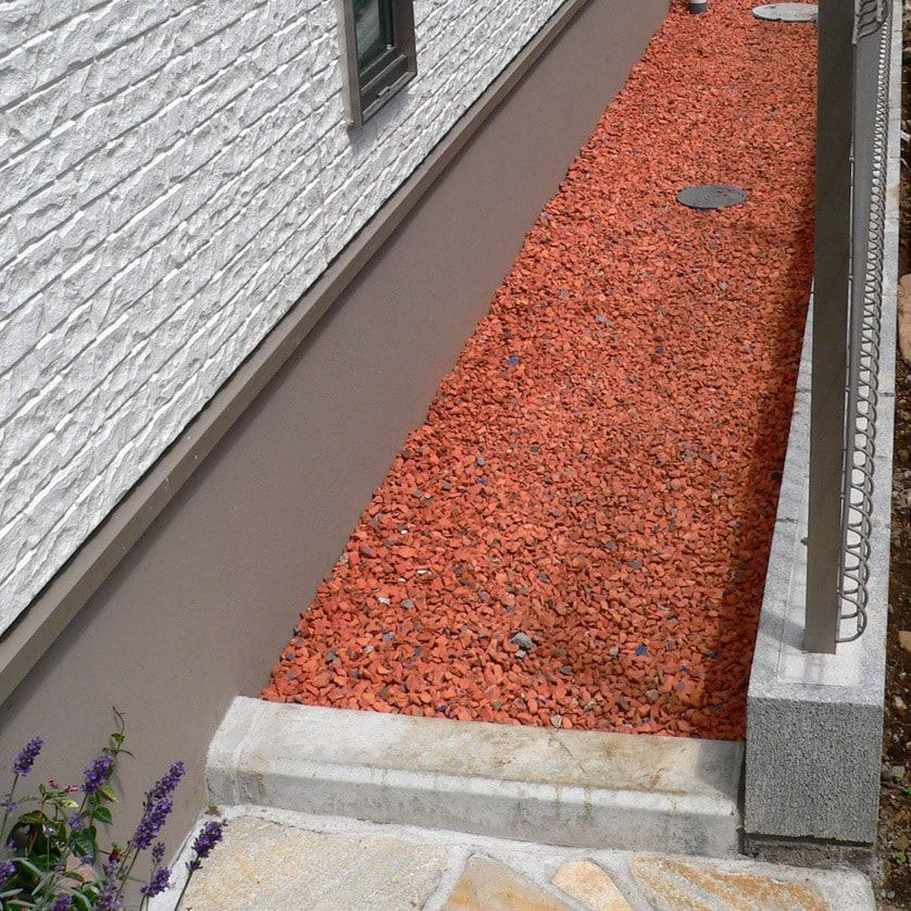 サービスヤードや犬走りと言われるお家の周りは砂利を敷くことが一般的