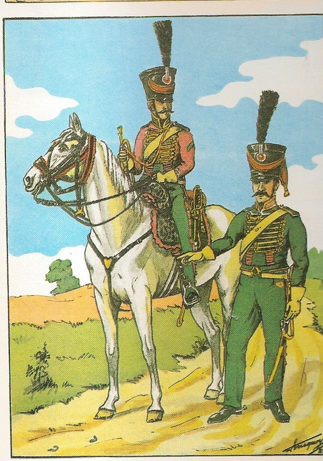 French; 27th Chasseurs a Cheval(Les Chevau-Legers du duc d'Arenberg), Trumpeter & Chasseur 1808
