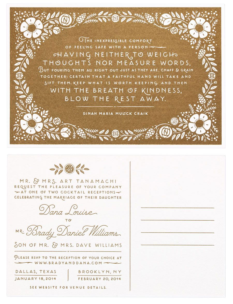 Beautiful quote used on Dana Tanamachi\'s wedding invitation | potent ...