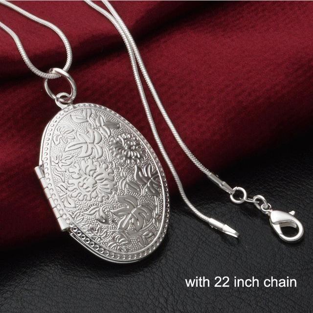 Vintage photo locket pendant necklace sliver plated jewelry vintage photo locket pendant necklace sliver plated jewelry necklaces pendants women gift free shipping aloadofball Images