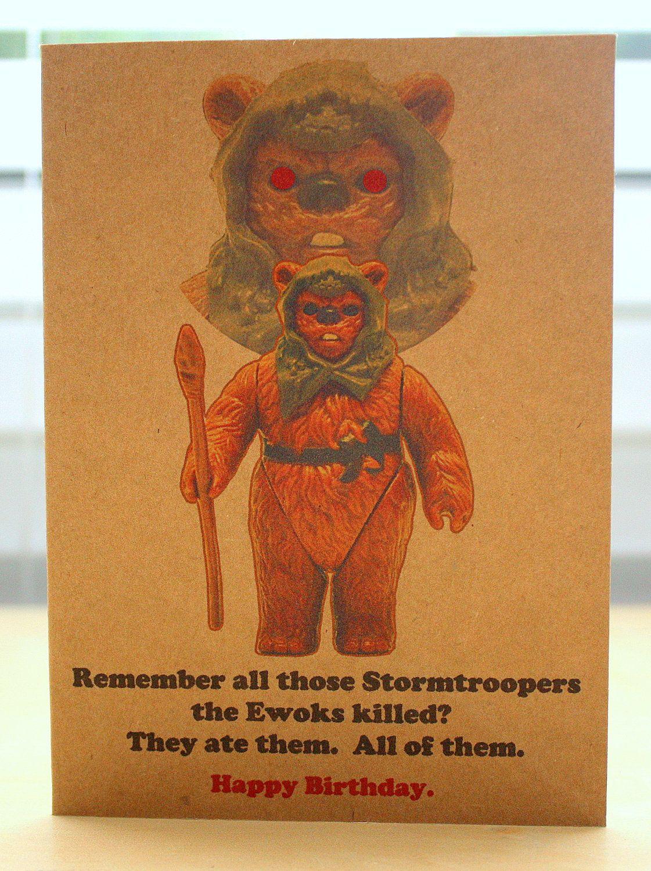 star wars ewok birthday card and envelope star