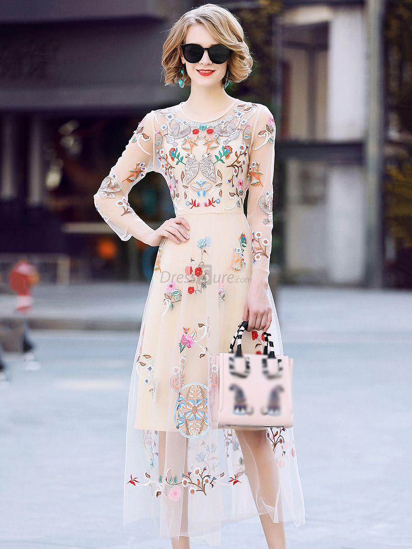 Buy elegant embroidery oneck long sleeve mesh maxi dress