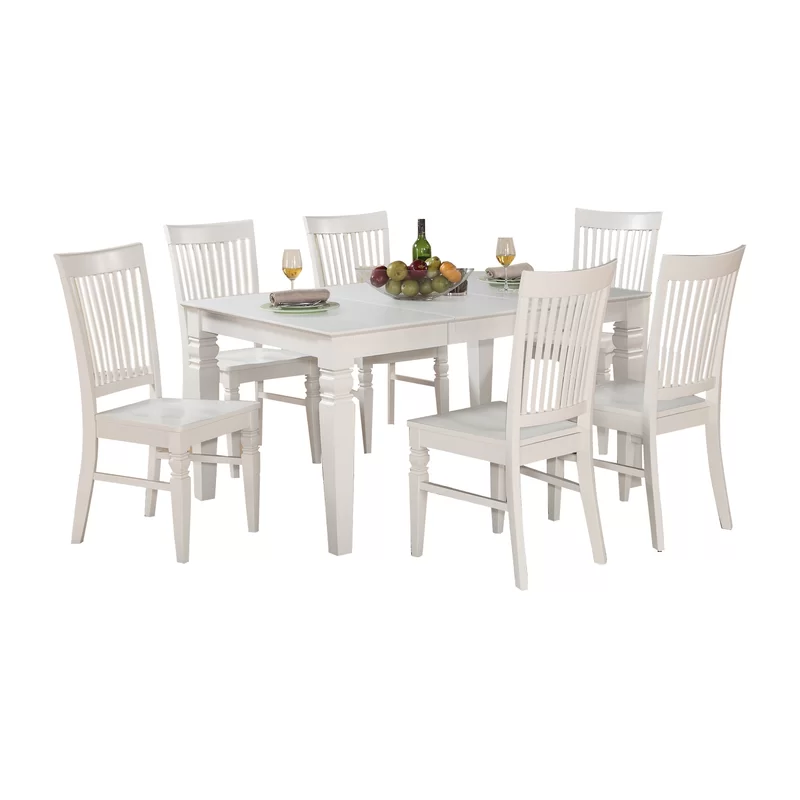 Pennington Butterfly Leaf Rubberwood Solid Wood Dining Set Solid Wood Dining Set Dining Table In Kitchen White Dining Table Set