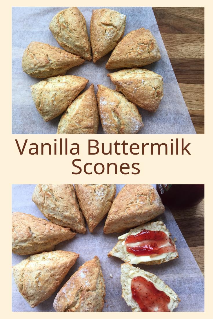 These Easy To Make Vanilla Buttermilk Scones Will Become The Basic Go To Recipe For All Yo Vanilla Scones Recipes Buttermilk Recipes Buttermilk Scone Recipe