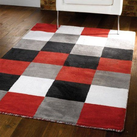 Flair Rugs Liberty Glade Check 100 Cotton Handtufted Rug Black Red White Grey 80 X 140 Cm Grey And Red Living Room Black Living Room Black And White Decor