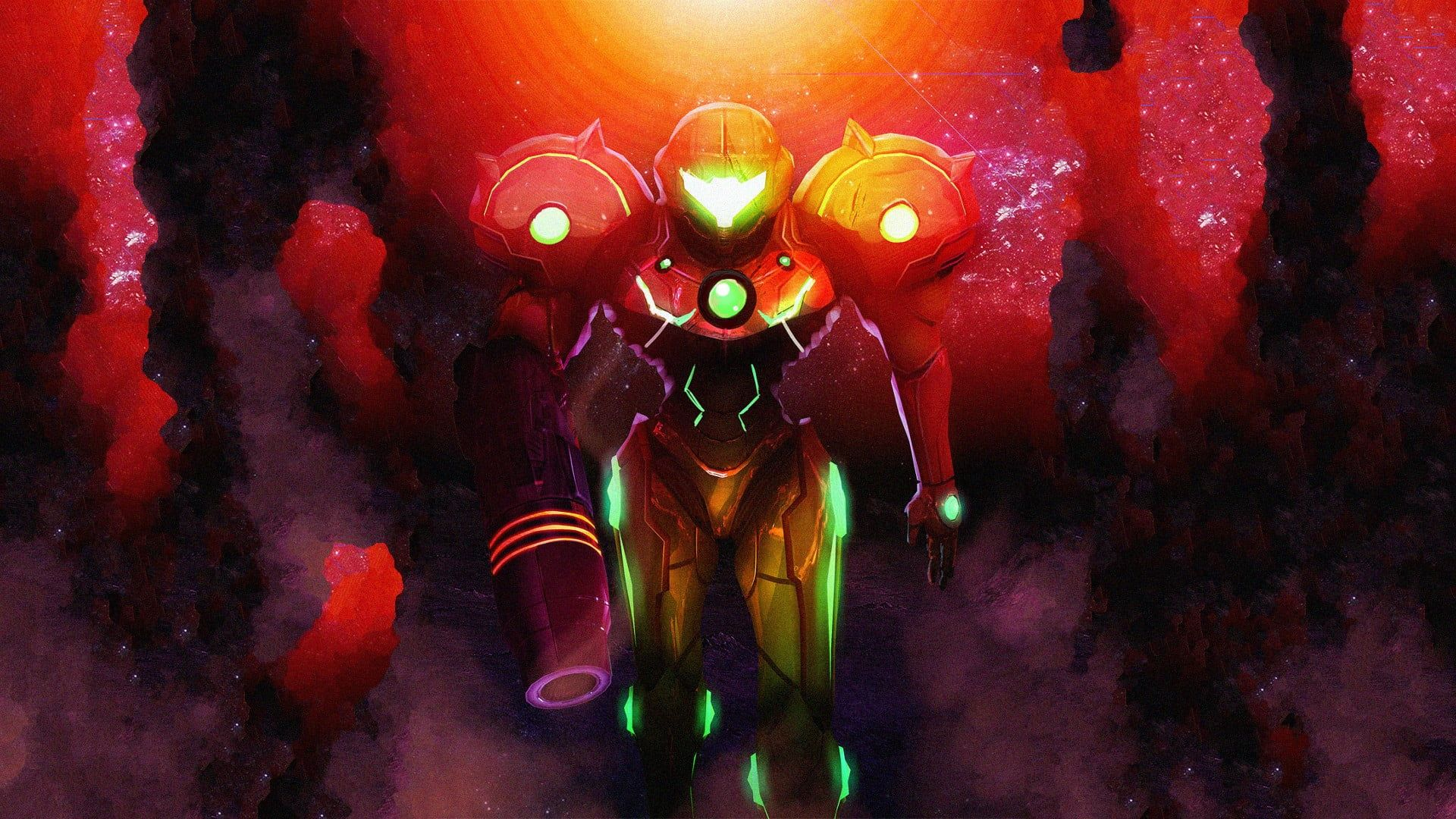 Red Robot Character Illustration Metroid Video Games Samus Aran 1080p Wallpaper Hdwallpaper Desktop Metroid Samus Aran Character Illustration