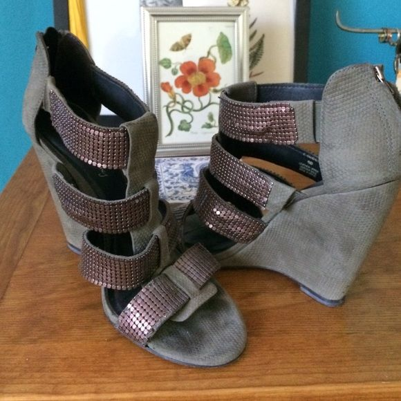 Elizabeth & James Wedges Gorgeous gently used gladiator style wedges. Olive/grey suede and copper detail on straps Elizabeth and James Shoes Wedges