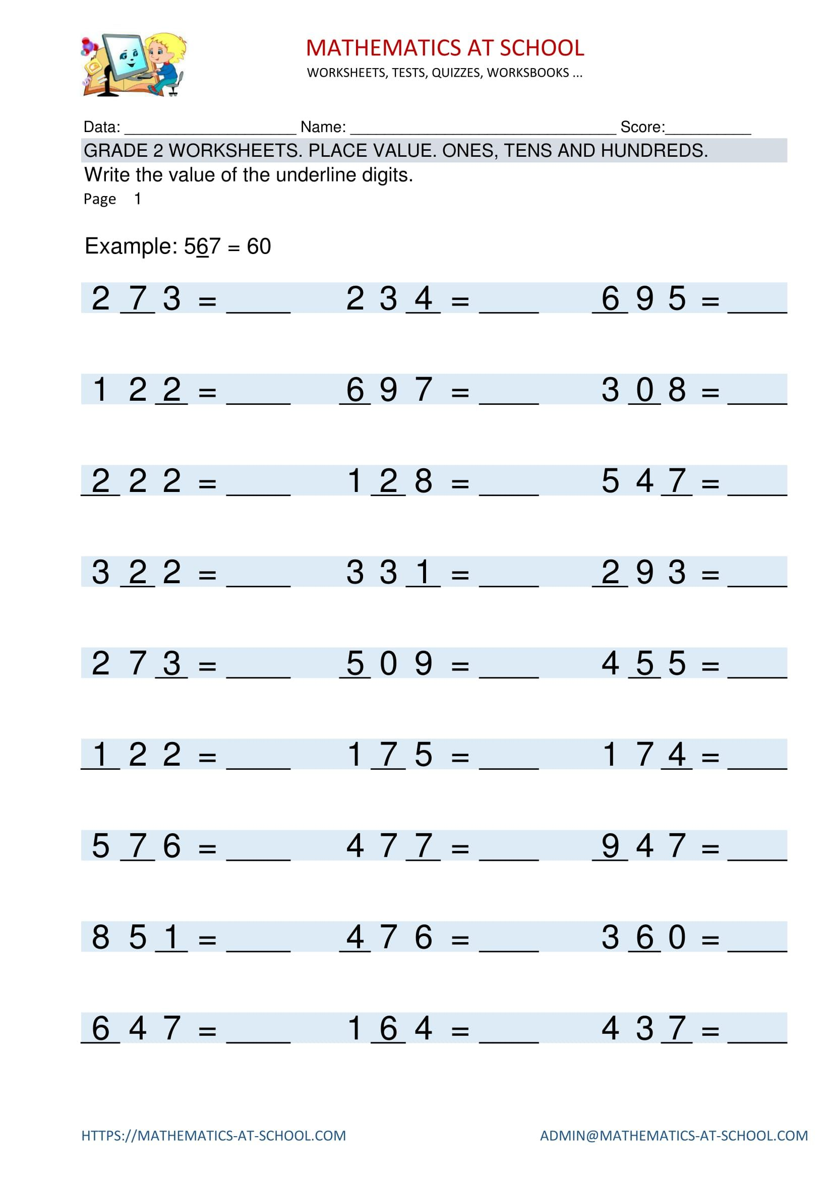 GRADE 2 WORKSHEETS Place value Place value of digits