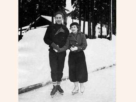 Walt and Lillian Disney; Ahwahnee Hotel in Yosemite National Park, California, January 1935.