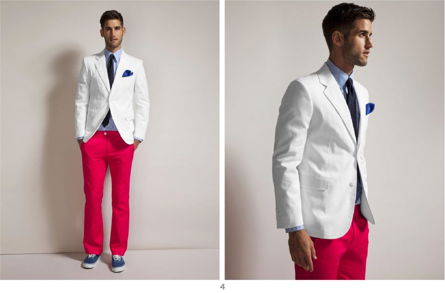 Colorful Groom Attire Red White Blue Red Pants