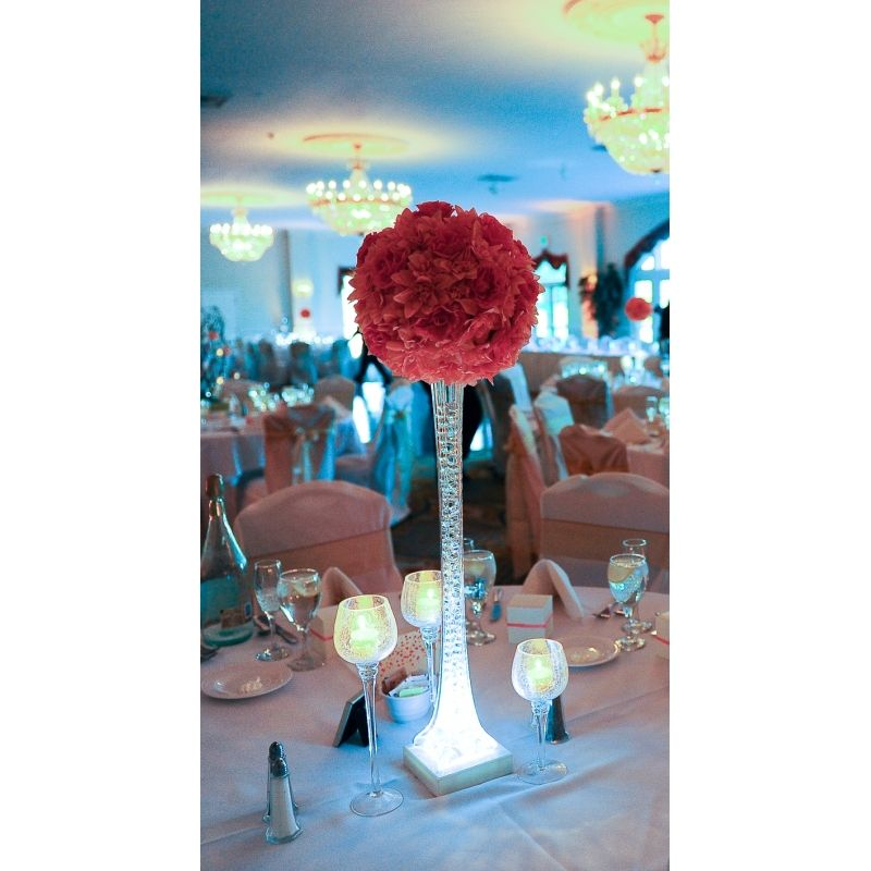 Coral wedding centerpiece add blue turquoise crystals