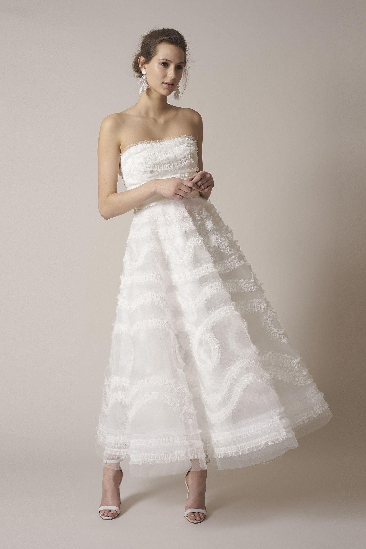 M O Bridal & Wedding Crinkle Chiffon Midi Gown from Sachin & Babi