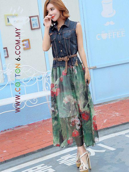 933a61f1bb15 Sleeveless Jeans Top Spliced Floral Printed Chiffon Dress | Dress ...