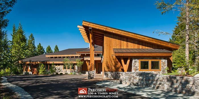 Front Elevation Of This Custom Timber Frame Home Exterior Timber Frame Homes Architecture Timber House