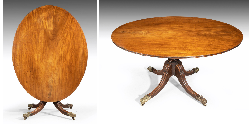 A Good George Iii Period Oval Mahogany Dining Table Retaining