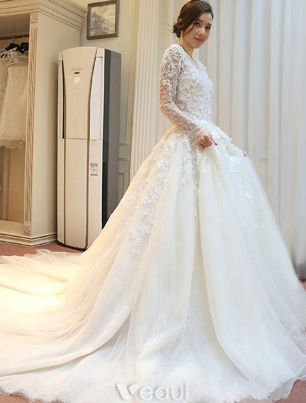 Wspaniale Suknie Slubne 2016 Koronki Kwiaty Tiul Suknia Slubna Bez Plecow Z Dlugim Rekawem Wedding Dresses Ball Gowns Wedding Gorgeous Wedding Dress