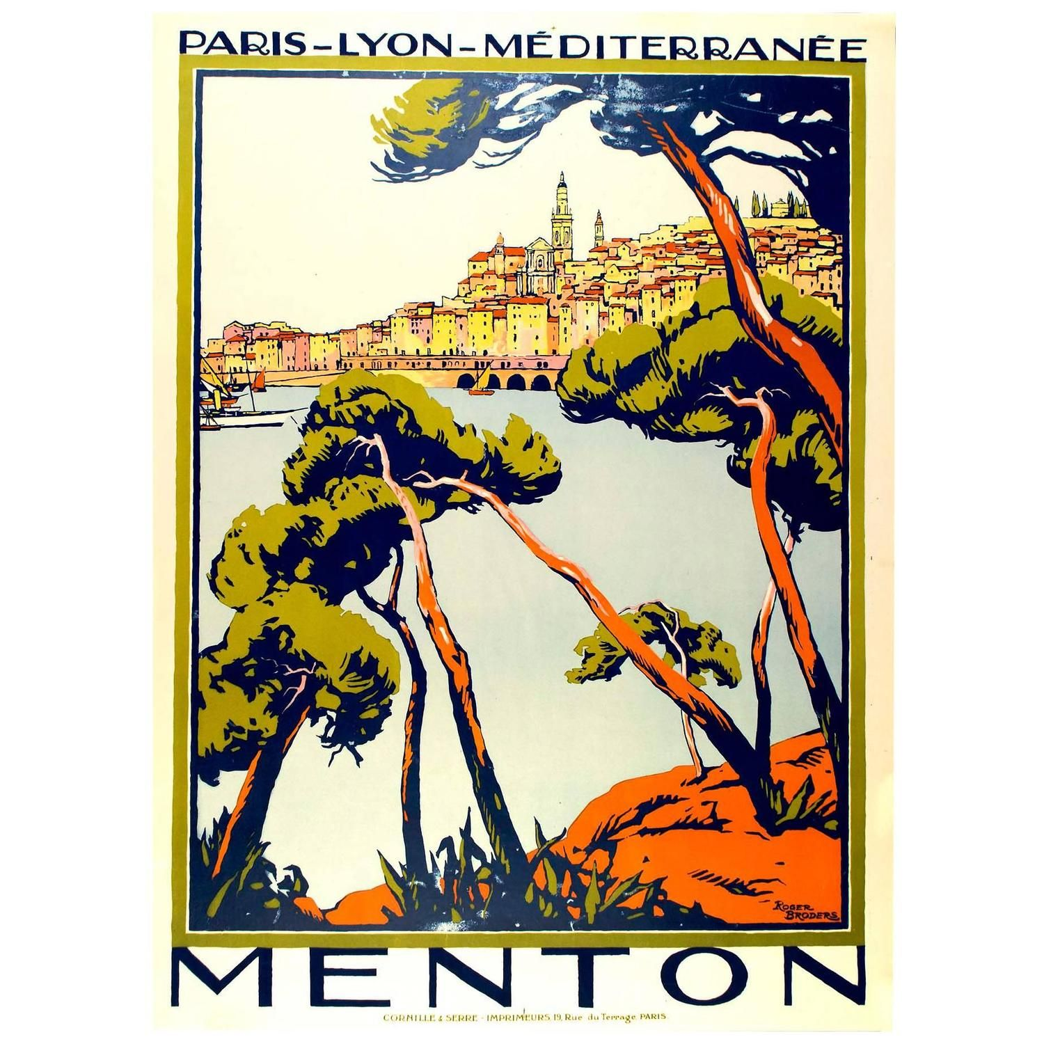 Original Broders Travel Poster for Menton | From a unique collection of antique and modern posters at https://www.1stdibs.com/furniture/wall-decorations/posters/