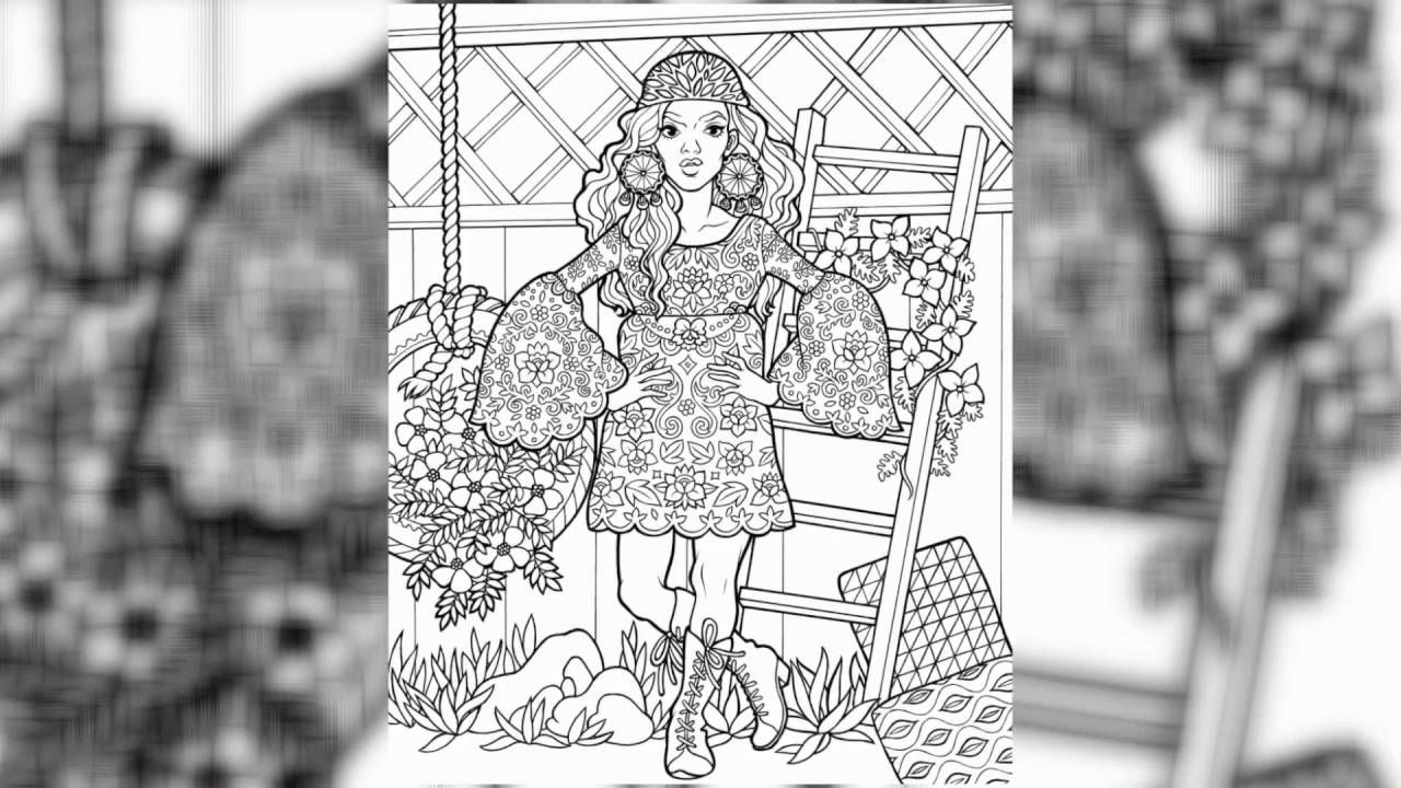 Groovy 70s fashion coloring book for adults trailer beautiful 70s fashion illustrations check it out