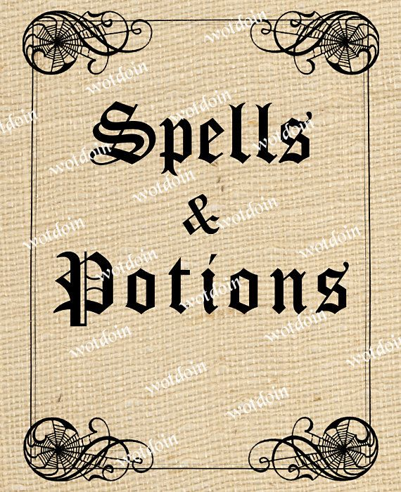 Spell Book Cover Printable ~ Printable halloween spells and potions book cover by