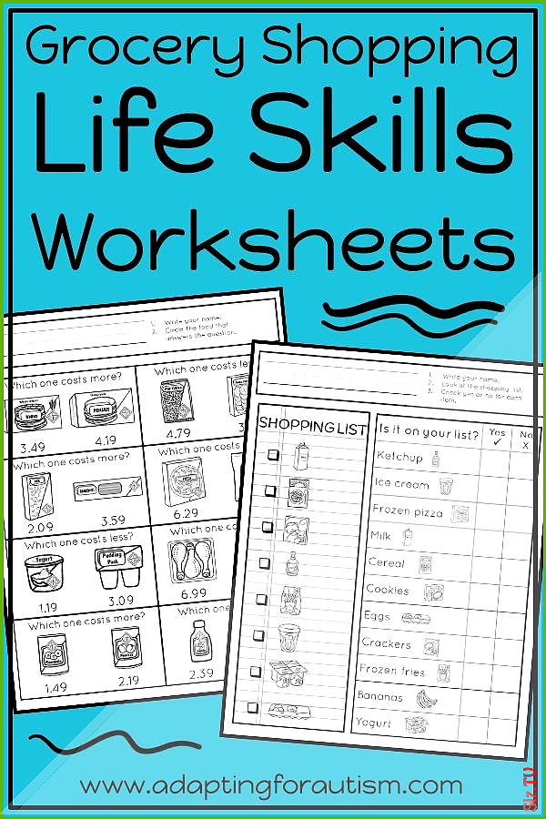 Life Skills Worksheets for Special Education and Autism Grocery Store Life Skills Worksheets for Sp