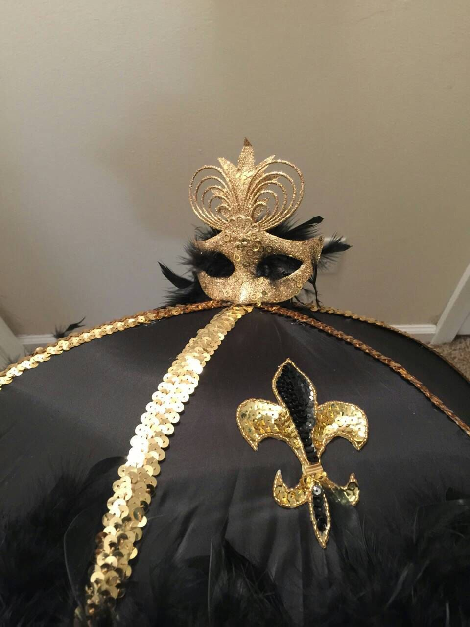 Second line umbrella black and gold second line umbrella with mask